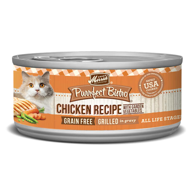 Merrick Purrfect Bistro Grilled Chicken & Vegetables Recipe Wet Cat Food, 5.5 oz., Case of 24 - Carousel image #1