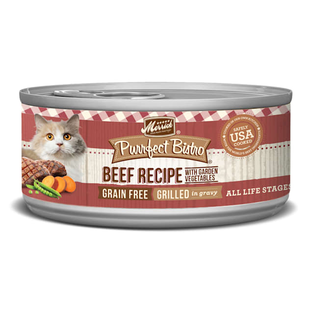 Merrick Purrfect Bistro Grilled Beef & Vegetables Recipe Wet Cat Food, 5.5 oz., Case of 24 - Carousel image #1