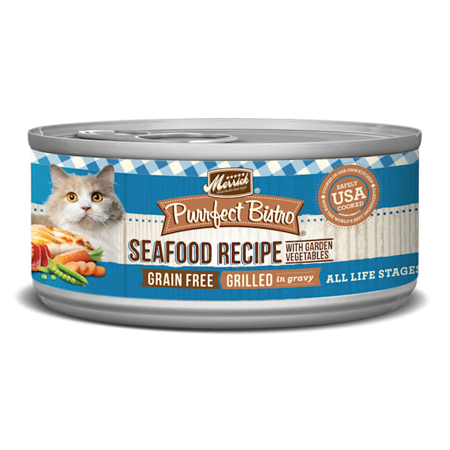 Merrick Purrfect Bistro Mixed Seafood Grill Recipe Wet Cat Food, 5.5 oz., Case of 24 - Carousel image #1