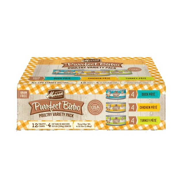 Merrick Purrfect Bistro Grain Free Poultry Wet Cat Variety Pack, 5.5 oz. - Carousel image #1