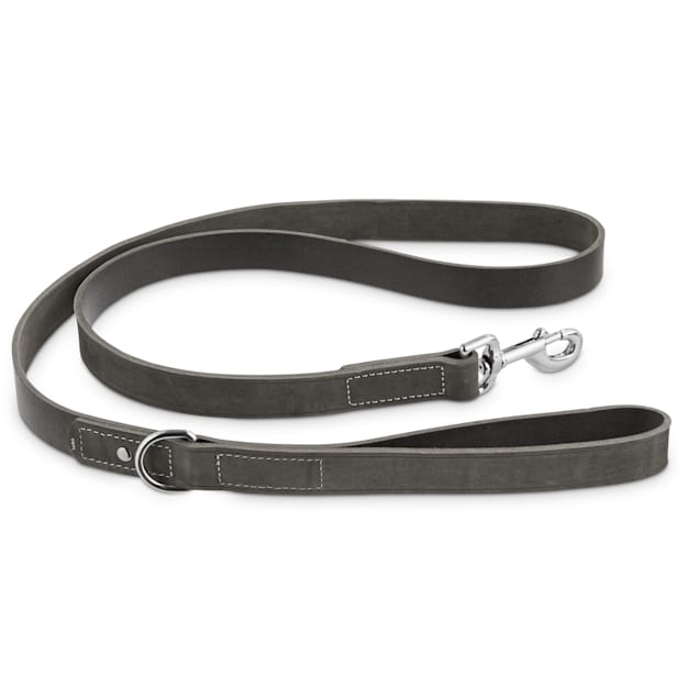 Bond & Co. Gray Suede Leather Dog Leash, 5 ft. - Carousel image #1