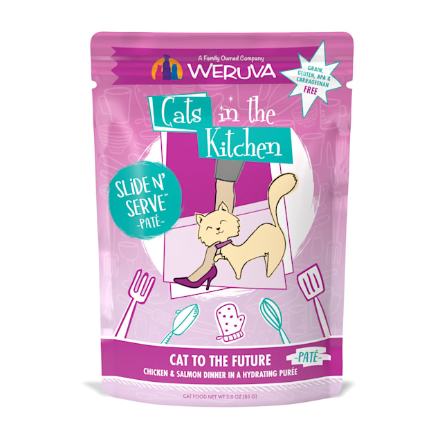Cats in the Kitchen Pate Cat to the Future Chicken & Salmon Dinner in a Hydrating Puree Wet Cat Food, 3 oz., Case of 12 - Carousel image #1