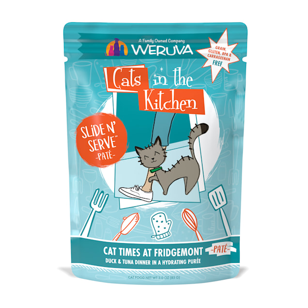 Cats in the Kitchen Pate Cat Times at Fridgemont Duck & Tuna Dinner in a Hydrating Puree Wet Cat Food, 3 oz., Case of 12 - Carousel image #1