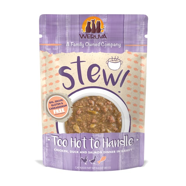 Weruva Stew! Too Hot to Handle Chicken, Duck and Salmon Dinner in Gravy Wet Cat Food, 3 oz., Case of 12 - Carousel image #1