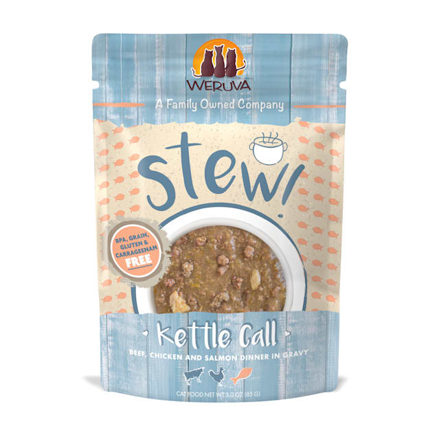 Weruva Stew! Kettle Call Beef, Chicken and Salmon Dinner in Gravy Wet Cat Food, 3 oz., Case of 12 - Carousel image #1