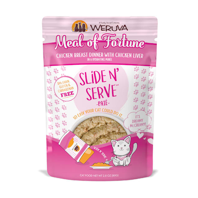 Weruva Pate Meal of Fortune Chicken Breast Dinner with Chicken Liver in a Hydrating Puree Wet Cat Food, 2.8 oz., Case of 12 - Carousel image #1