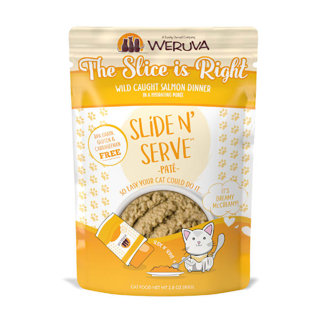 Weruva Pate The Slice is Right Wild Caught Salmon Dinner in a Hydrating Puree Wet Cat Food, 2.8 oz., Case of 12 - Carousel image #1