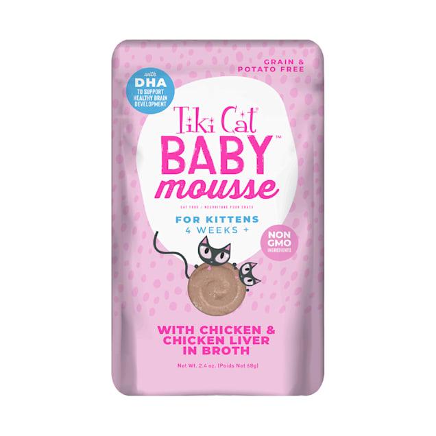 Tiki Cat Velvet Mousse Kitten Chicken Liver Wet Food, 2.4 oz., Case of 12 - Carousel image #1