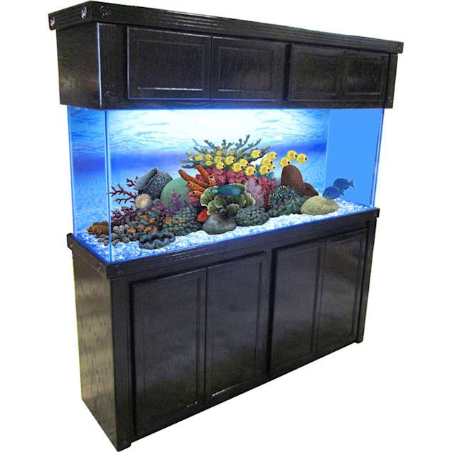 R&J Enterprises 72X18 Black Oak Empire Tall Reef Cabinet and Canopy Combo - Carousel image #1