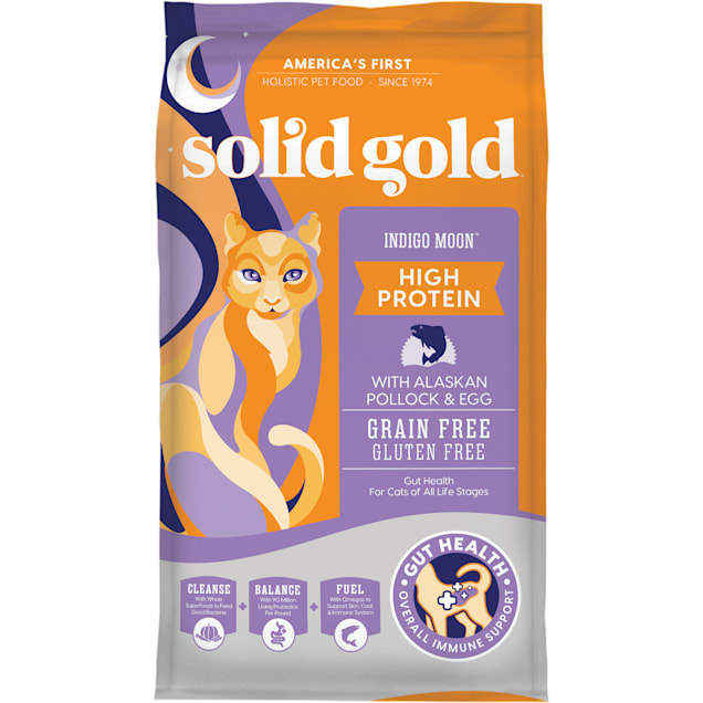 Solid Gold Indigo Moon High Protein Dry Cat Food with Alaskan Pollock and Egg, 12 lbs. - Carousel image #1