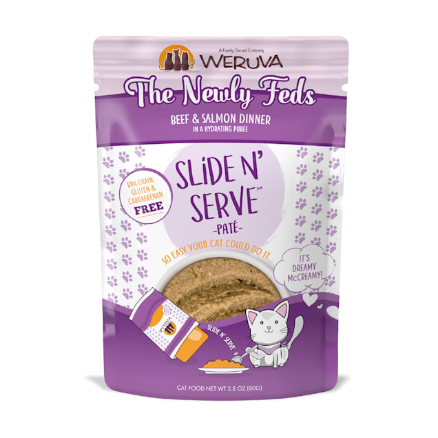 Weruva Pate The Newly Feds Beef & Salmon Dinner in a Hydrating Puree Wet Cat Food, 2.8 oz., Case of 12 - Carousel image #1