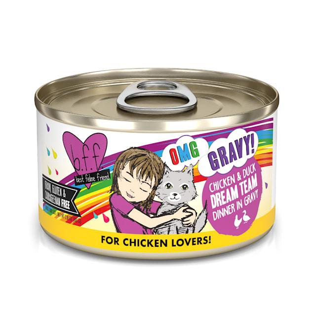 B.F.F. OMG Dream Team Chicken & Duck Dinner in Gravy Wet Cat Food, 2.8 oz., Case of 12 - Carousel image #1