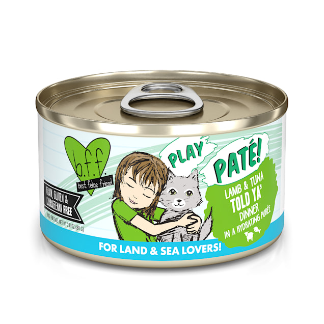 B.F.F. P.L.A.Y. Told Ya' Lamb & Tuna Dinner in a Hydrating Puree Wet Cat Food, 2.8 oz., Case of 12 - Carousel image #1