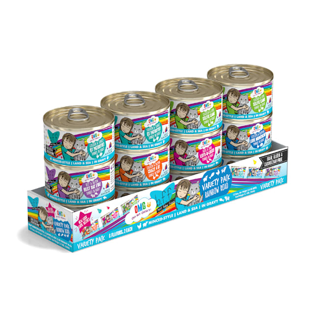 B.F.F. OMG Rainbow Road Variety Pack Wet Cat Food, 2.8 oz, Count of 12 - Carousel image #1