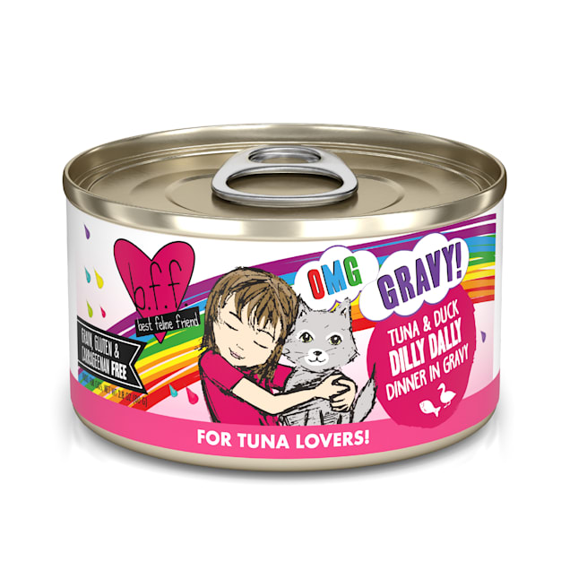 B.F.F. OMG Dilly Dally Tuna & Duck Dinner in Gravy Wet Cat Food, 2.8 oz., Case of 12 - Carousel image #1