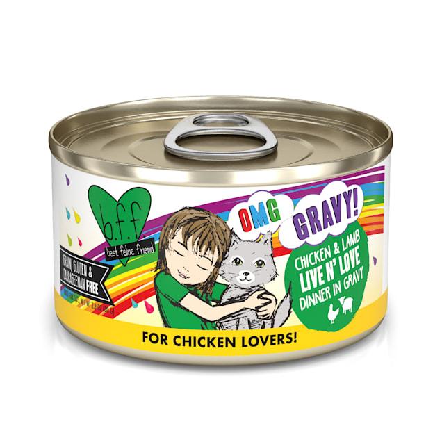B.F.F. OMG Live N' Love Chicken & Lamb Dinner in Gravy Wet Cat Food, 2.8 oz., Case of 12 - Carousel image #1