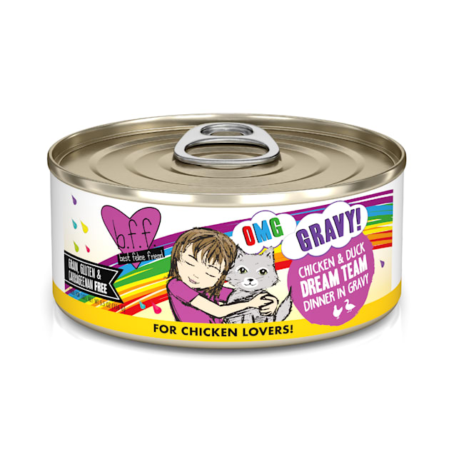 B.F.F. OMG Dream Team Chicken & Duck Dinner in Gravy Wet Cat Food, 5.5 oz., Case of 8 - Carousel image #1