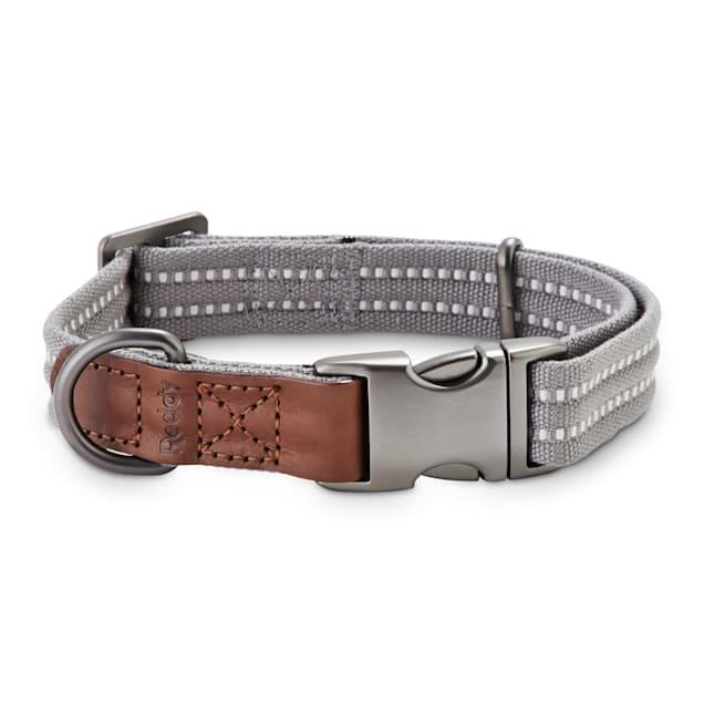 Reddy Grey Webbed Dog Collar, Small - Carousel image #1
