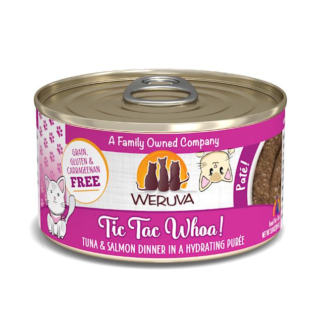 Weruva Pate Tic Tac Whoa! Tuna & Salmon Dinner in a Hydrating Puree Wet Cat Food, 3 oz., Case of 12 - Carousel image #1