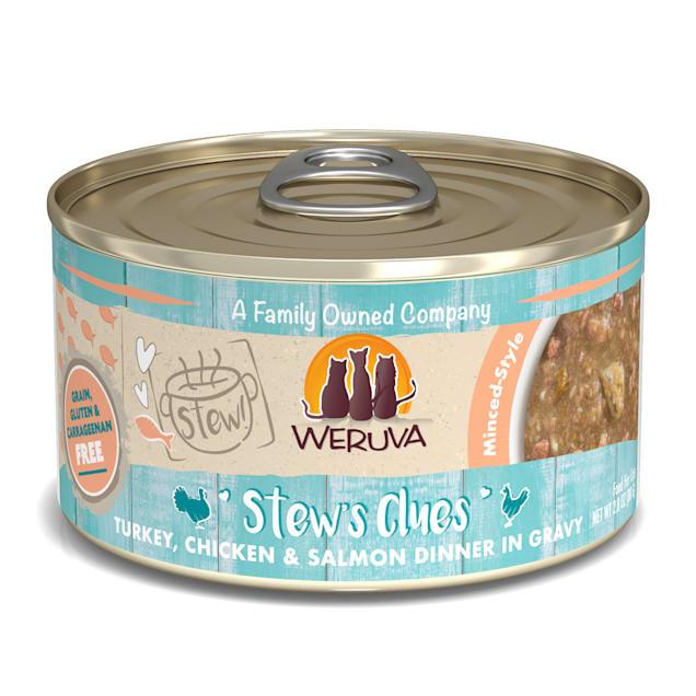 Weruva Stew! Stew's Clues Turkey, Chicken & Salmon Dinner in Gravy Wet Cat Food, 2.8 oz., Case of 12 - Carousel image #1