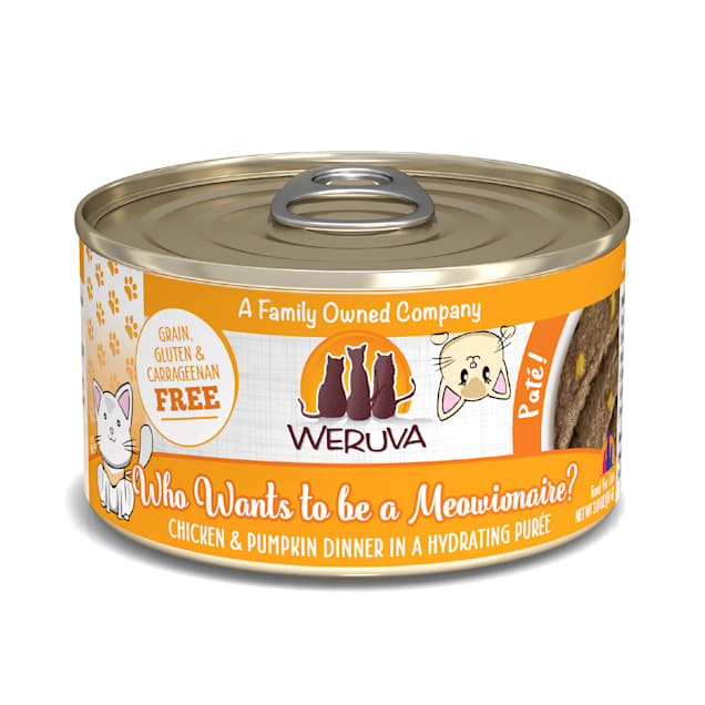 Weruva Pate Who Wants to be a Meowionaire? Chicken & Pumpkin Dinner in a Hydrating Puree Wet Cat Food, 3 oz., Case of 12 - Carousel image #1