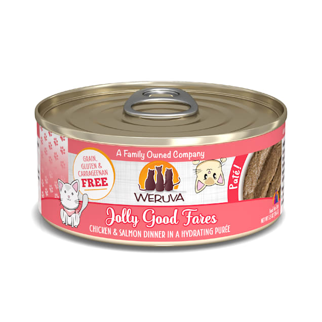 Weruva Pate Jolly Good Fares Chicken & Salmon Dinner in a Hydrating Puree Wet Cat Food, 5.5 oz., Case of 8 - Carousel image #1