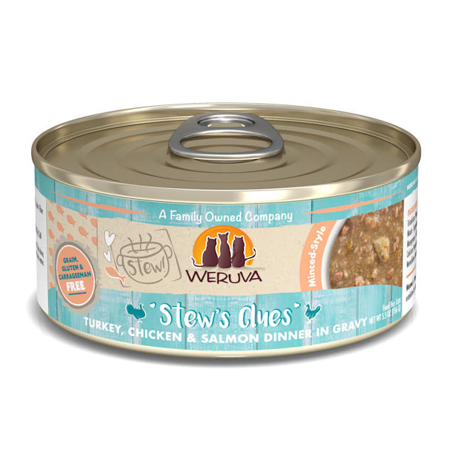 Weruva Stew! Stew's Clues Turkey, Chicken & Salmon Dinner in Gravy Wet Cat Food, 5.5 oz., Case of 8 - Carousel image #1