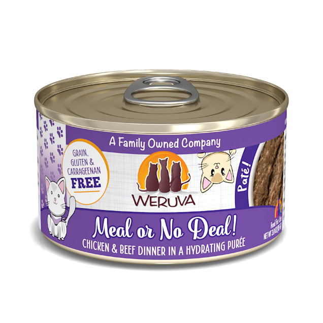 Weruva Pate Meal or No Deal! Chicken & Beef Dinner in a Hydrating Puree Wet Cat Food, 3 oz., Case of 12 - Carousel image #1