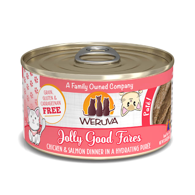 Weruva Pate Jolly Good Fares Chicken & Salmon Dinner in a Hydrating Puree Wet Cat Food, 3 oz., Case of 12 - Carousel image #1