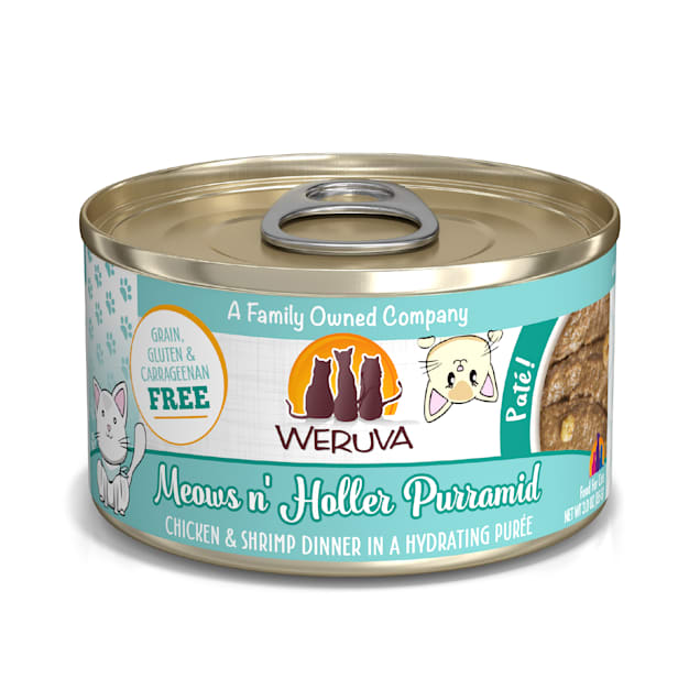 Weruva Pate Meows n' Holler Purramid Chicken & Shrimp Dinner in a Hydrating Puree Wet Cat Food, 3 oz., Case of 12 - Carousel image #1