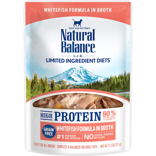Natural Balance L.I.D. High Protein Whitefish Formula in Broth Wet Cat Food, 2.5 oz., Case of 24 - Carousel image #1