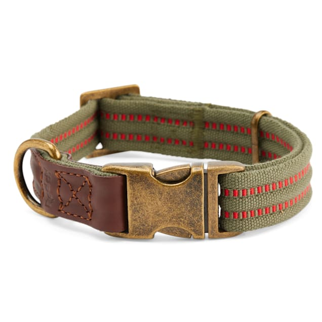 Reddy Olive Webbed Dog Collar, Small - Carousel image #1