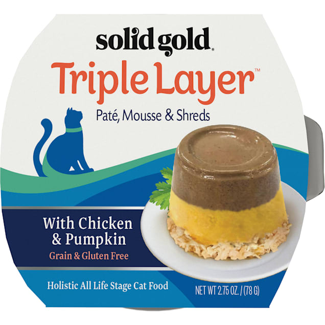 Solid Gold Triple Layer Wet Cat Food with Chicken & Pumpkin; Pate, Mousse and Shreds, 2.75 oz., Case of 6 - Carousel image #1