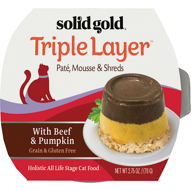 Solid Gold Triple Layer Wet Cat Food with Beef & Pumpkin; Pate, Mousse and Shreds, 2.75 oz., Case of 6 - Carousel image #1