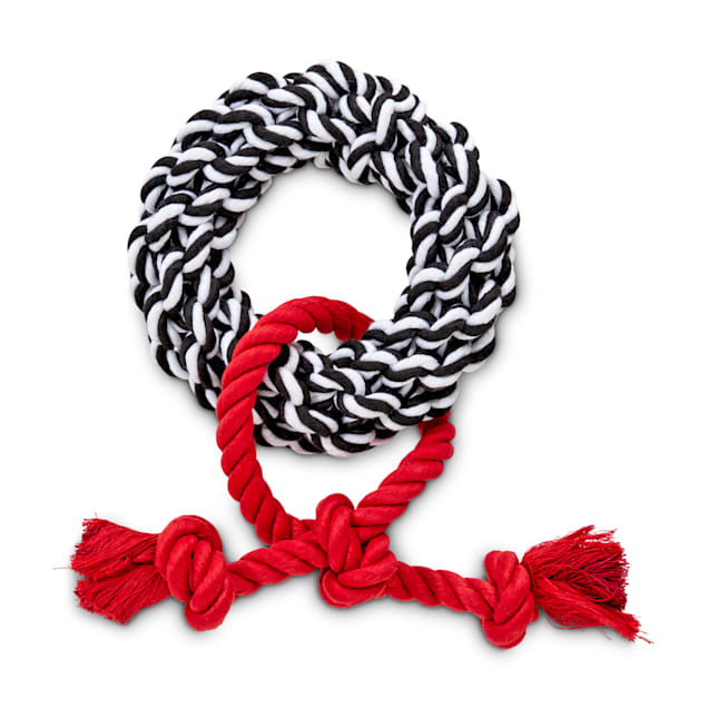 Bond & Co. Black, White and Red Allover Rope Dog Toy, Medium - Carousel image #1