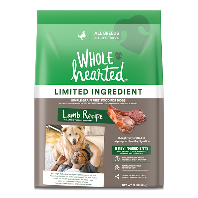 WholeHearted Grain Free Limited Ingredient Lamb Recipe Dry Dog Food for All Life Stages and Breeds, 22 lbs. - Carousel image #1