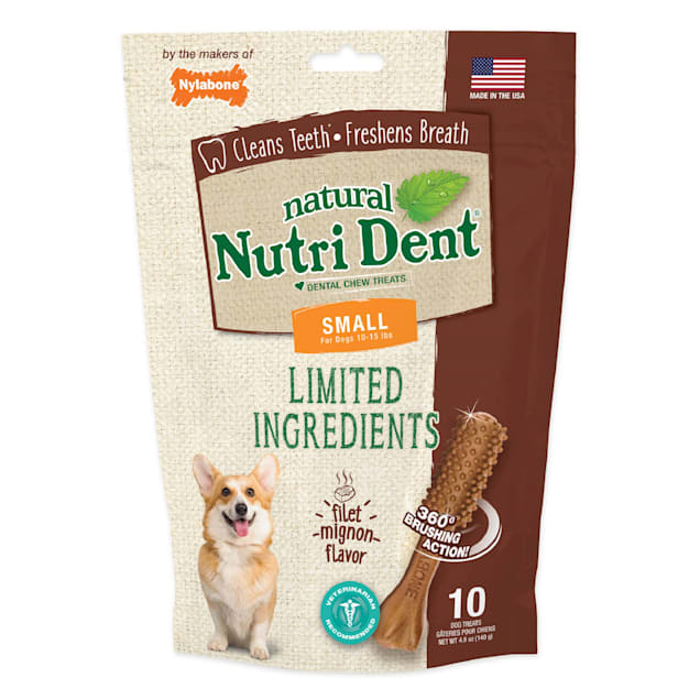 Nutri Dent Filet Mignon Limited Ingredients Wet Dental Chews for Dogs, 4.9 oz., Count of 10 - Carousel image #1