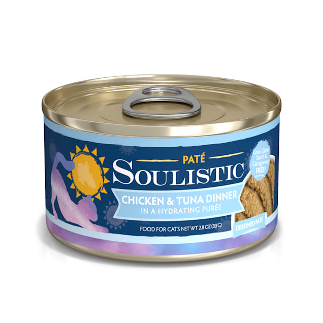 Soulistic Pate Chicken & Tuna Dinner in a Hydrating Puree Wet Cat Food, 2.8 oz., Case of 12 - Carousel image #1