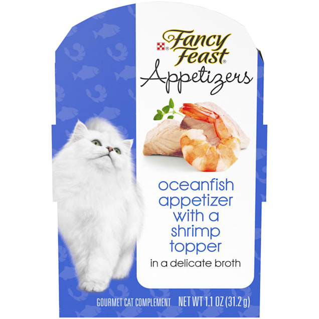 Fancy Feast Appetizers Oceanfish With a Shrimp Topper in Broth Wet Cat Food, 1.1 oz., Case of 10 - Carousel image #1