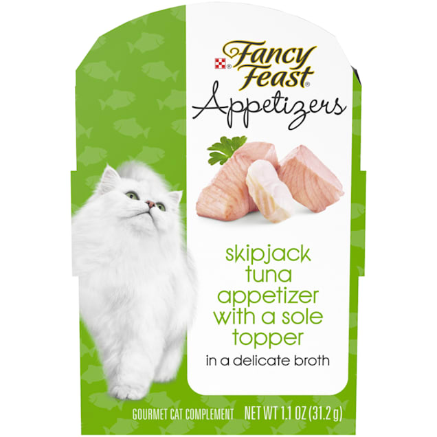Fancy Feast Grain Free Appetizers Skipjack Tuna With a Sole Topper Wet Cat Food Complement, 1.1 oz., Case of 10 - Carousel image #1