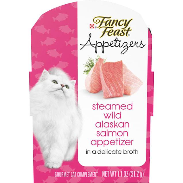 Fancy Feast Appetizers Steamed Wild Alaskan Salmon in Delicate Broth Wet Cat Food, 1.1 oz., Case of 10 - Carousel image #1