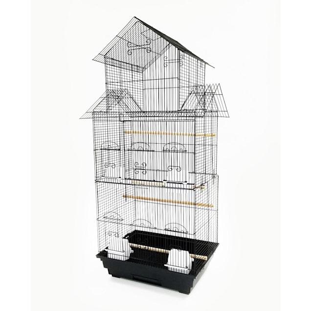 "YML 3/8"" Bar Spacing Tall Pagoda Top Black Small Bird Cage, 18"" L X 14"" W X 42"" H - Carousel image #1"