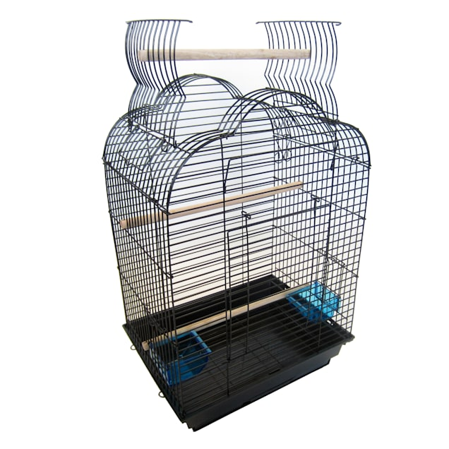 "YML 5/8"" Bar Spacing Black Small Parrot Cage, 18"" L X 14"" W X 28"" H - Carousel image #1"