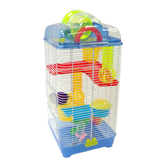 """YML 3 Level Plastic Clear & Blue Hamster Cage, 10"""" L X 10"""" W X 23"""" H - Carousel image #1"""