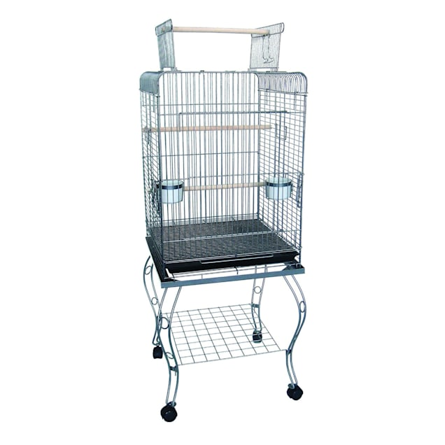 """YML Open Top Silver Parrot Cage With Stand, 24"""" L X 24"""" W X 68"""" H - Carousel image #1"""