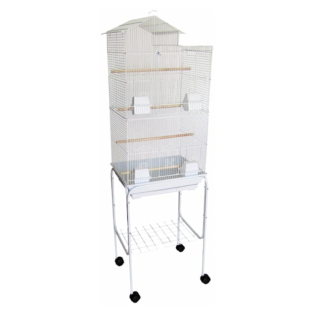 """YML Bar Spacing Tall Villa Top White Bird Cage With Stand, 18"""" L X 14"""" W X 60"""" H - Carousel image #1"""