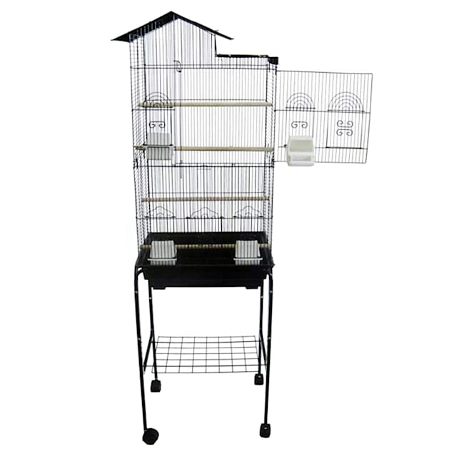 "YML Bar Spacing Tall Villa Top Black Bird Cage With Stand, 18"" L X 14"" W X 60"" H - Carousel image #1"