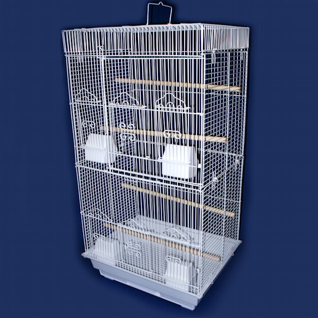 """YML 3/8"""" Bar Spacing Tall Flat Top White Small Bird Cage, 18"""" L X 14"""" W X 35"""" H - Carousel image #1"""