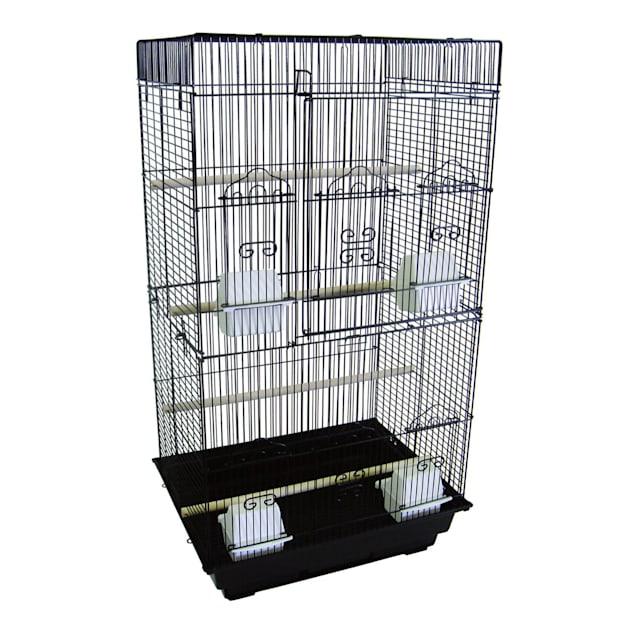 "YML 3/8"" Bar Spacing Tall Flat Top Black Small Bird Cage, 18"" L X 14"" W X 35"" H - Carousel image #1"