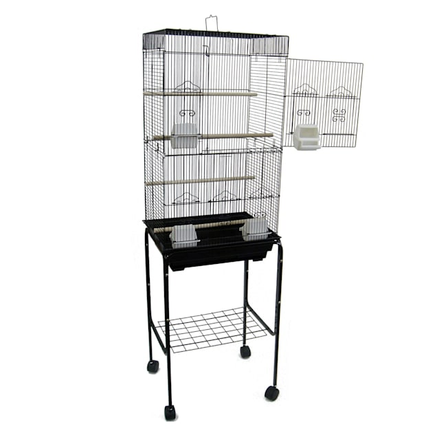 """YML 3/8"""" Bar Spacing Tall Flat Top Black Bird Cage With Stand, 18"""" L X 14"""" W X 60"""" H - Carousel image #1"""